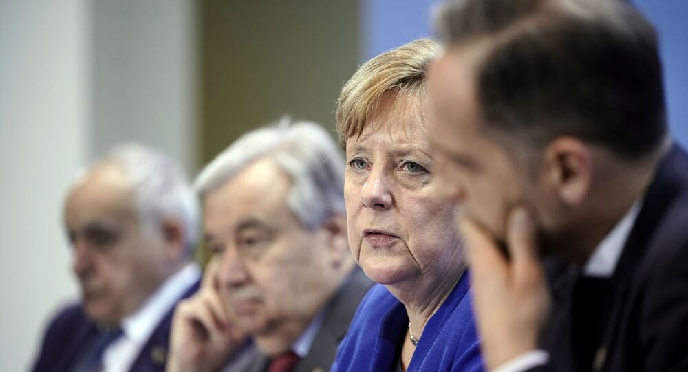 U.N. Envoy for Libya Ghassan Salame, United Nations Secretary-General Antonio Guterres, Germany's Chancellor Angela Merkel and Germany's Foreign Minister Heiko Maas attend a news conference after the Libya summit in Berlin, Germany, January 19, 2020.  Michael Kappeler/Pool via Reuters