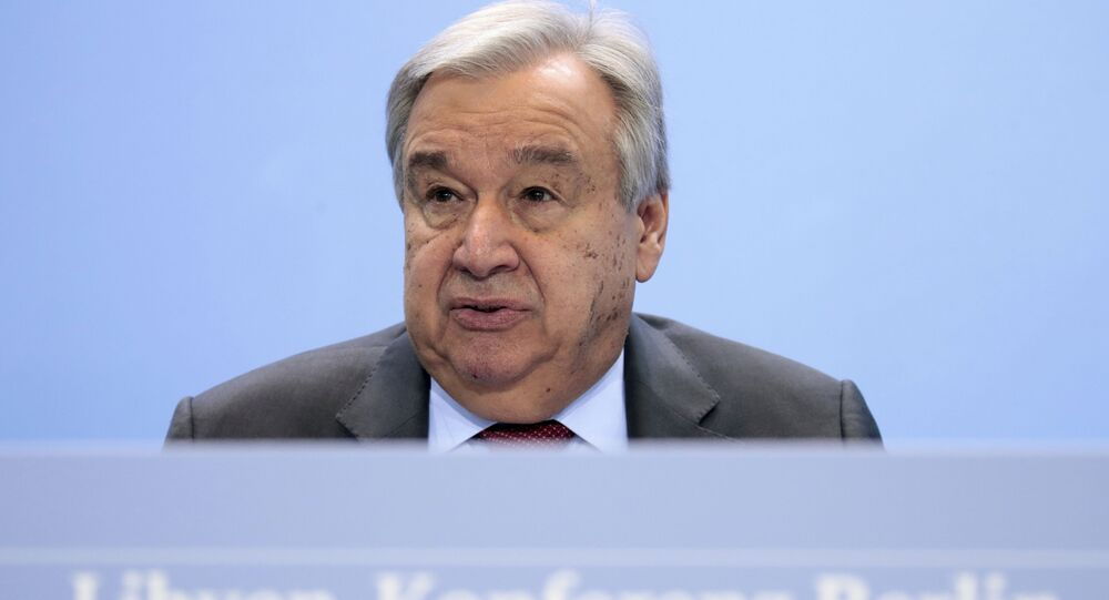 United Nations Secretary-General Antonio Guterres speaks during a news conference after the conference on Libya at the chancellery in Berlin, Germany, Sunday, Jan. 19, 2020.