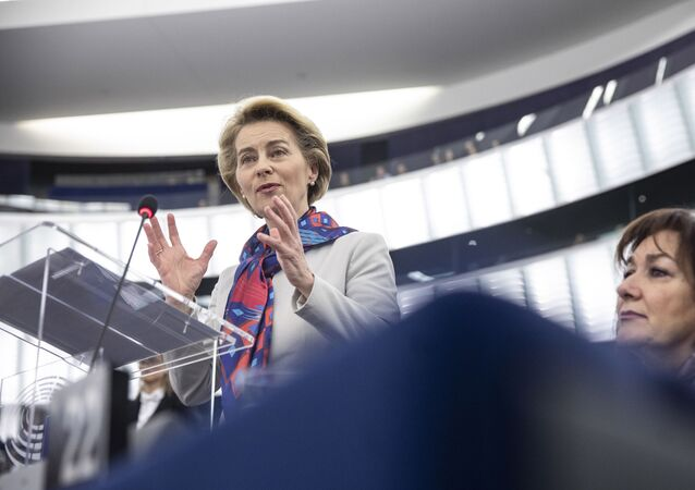European Commission President Ursula von der Leyen delivers her speech at the European parliament Tuesday, Jan.14, 2020 in Strasbourg, eastern France.