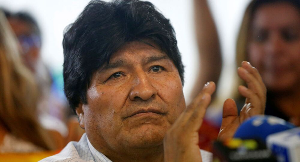Former Bolivian President Evo Morales holds a news conference where he announced the candidates for president and vice president for his Movements for Socialism (MAS) coalition party, in Buenos Aires, Argentina January 19, 2020.