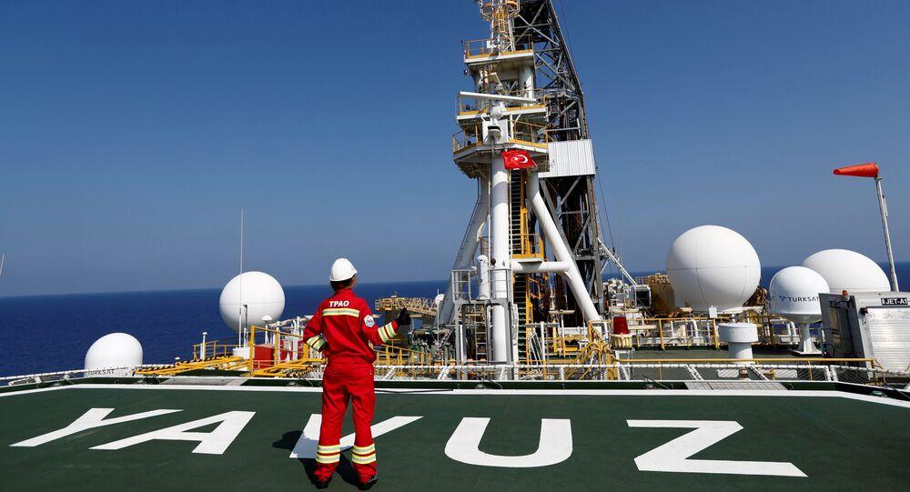 A Turkish Petroleum (TPAO) engineer poses on the helipad of Turkish drilling vessel Yavuz in the eastern Mediterranean Sea off Cyprus, August 6, 2019