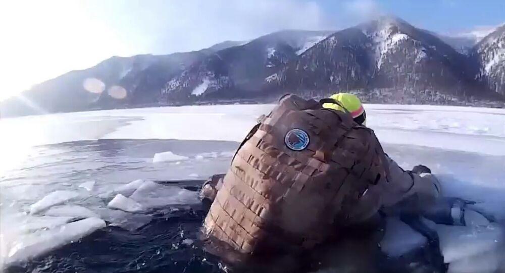 Tourists fall into frozen lake in Russia's Siberia