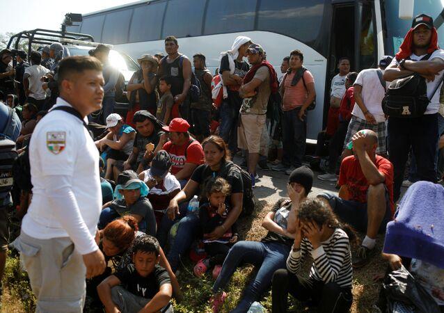 Migrant caravan on its way to the US
