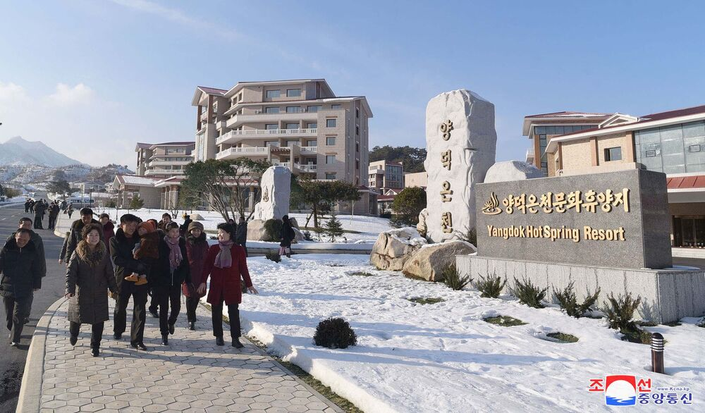 People are seen at the Yangdok Hot Spring Resort, North Korea, in this undated photo released on January 14, 2020 by North Korea's Korean Central News Agency (KCNA).