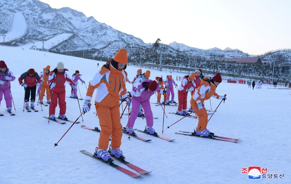 Skiers seen on the slopes at the Yangdok Hot Spring Resort, North Korea, in this undated photo released on January 14, 2020 by North Korea's Korean Central News Agency (KCNA).