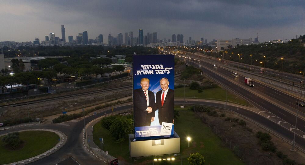 A massive election campaign billboard of the Likud party shows Israeli Prime Minister Benjamin Netanyahu, right, and US President Donald Trump in Tel Aviv, Israel, 8 September 2019