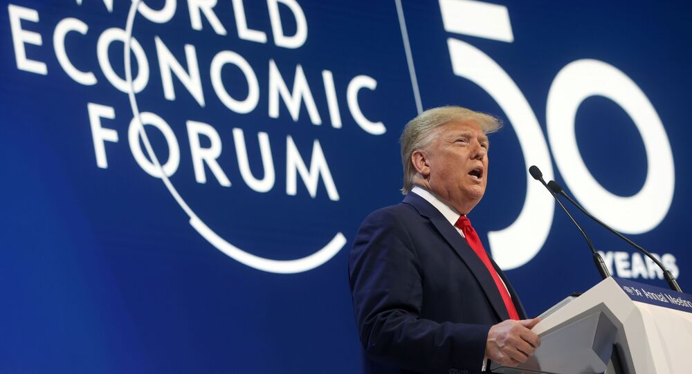 U.S. President Donald Trump delivers a speech during the 50th World Economic Forum (WEF) annual meeting in Davos, Switzerland, January 21, 2020