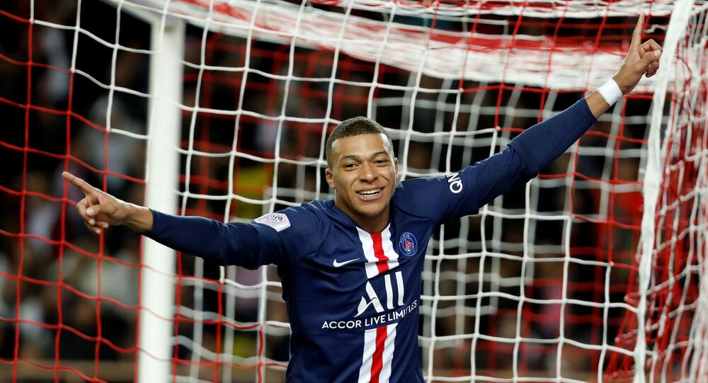 Soccer Football - Ligue 1 - AS Monaco vs Paris St Germain - Stade Louis II, Monaco - January 15, 2020   Paris St Germain's Kylian Mbappe celebrates after scoring a goal that is later disallowed