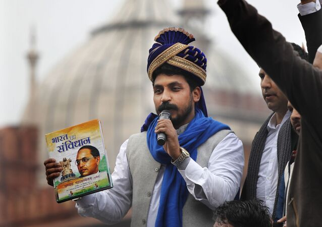 Chandrashekhar Azad, leader of the Bhim Army, a political party of Dalits who represent the Hinduism's lowest caste, center, speaks during a protest against a new Citizenship law, after Friday prayers in New Delhi, India, Friday, Jan. 17, 2020