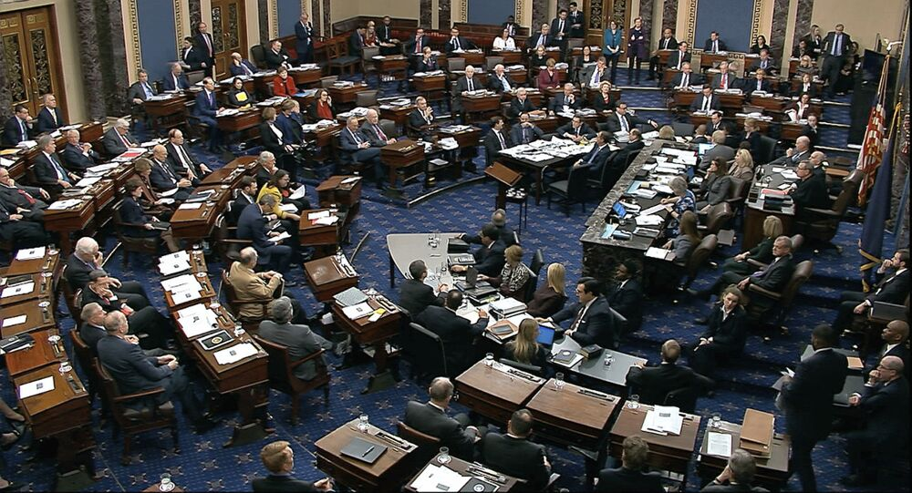 In this image from video, Senators vote on approving the rules for the impeachment trial against President Donald Trump in the Senate at the U.S. Capitol in Washington, Wednesday, Jan. 22, 2020