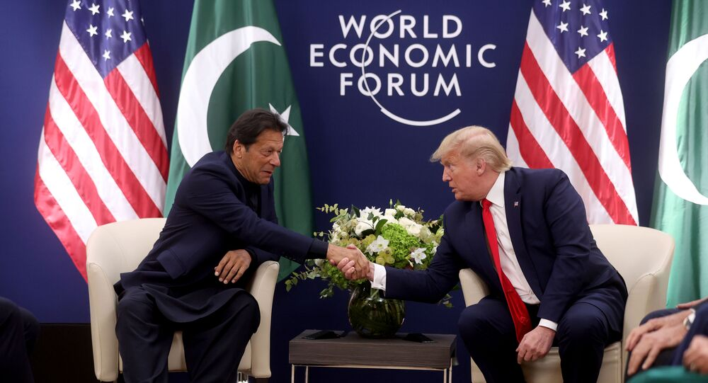 U.S. President Donald Trump shakes hands with Pakistan's Prime Minister Imran Khan during a bilateral meeting at the 50th World Economic Forum (WEF) annual meeting in Davos, Switzerland, January 21, 2020