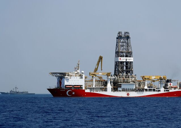 Turkish drilling vessel Yavuz is escorted by Turkish Navy frigate TCG Gemlik (F-492) in the eastern Mediterranean Sea off Cyprus, August 6, 2019