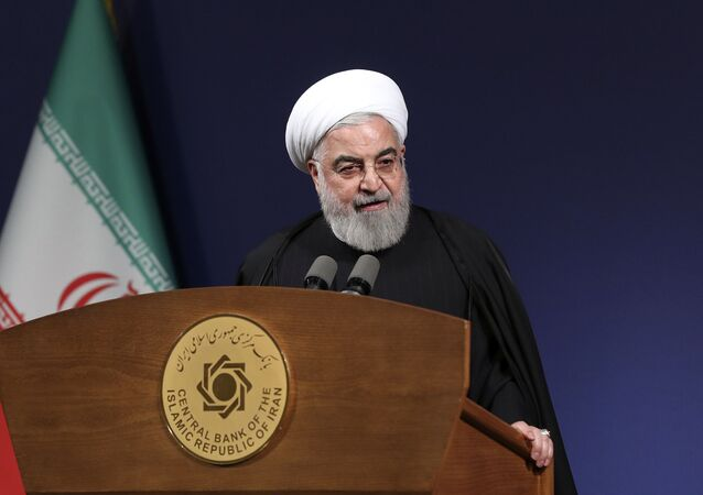 In this photo released by the official website of the office of the Iranian Presidency, President Hassan Rouhani speeches before the heads of banks, in Tehran, Iran, Thursday, Jan. 16, 2020