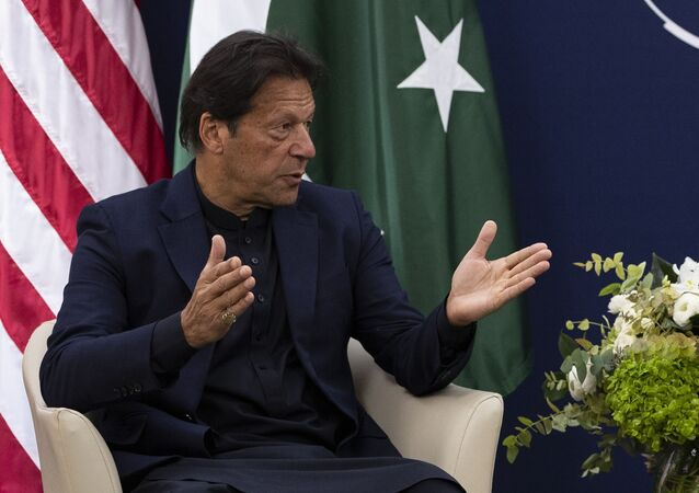 Pakistani Prime Minister Imran Khan at the World Economic Forum, Tuesday, Jan. 21, 2020, in Davos, Switzerland