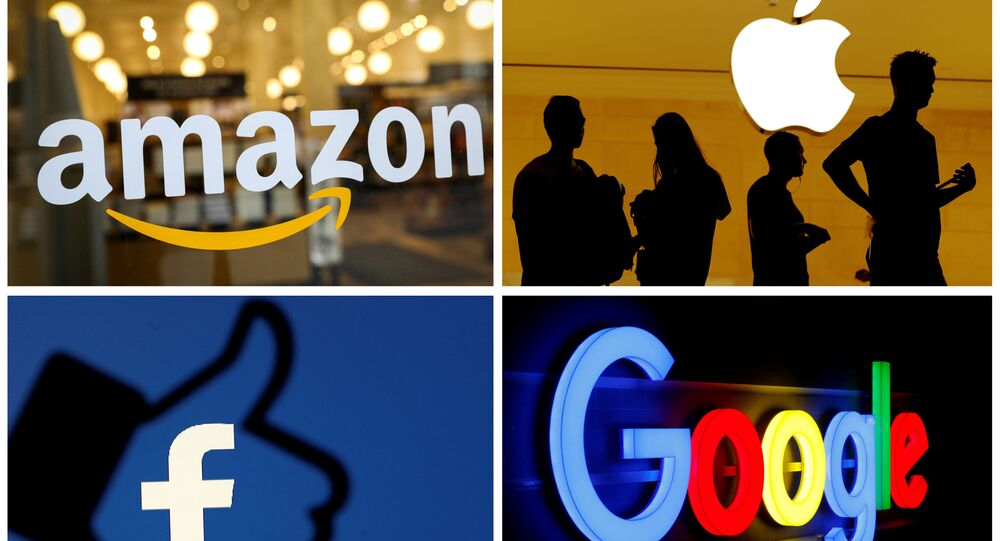 FILE PHOTO: The logos of Amazon, Apple, Facebook and Google are seen in a combination photo from Reuters files