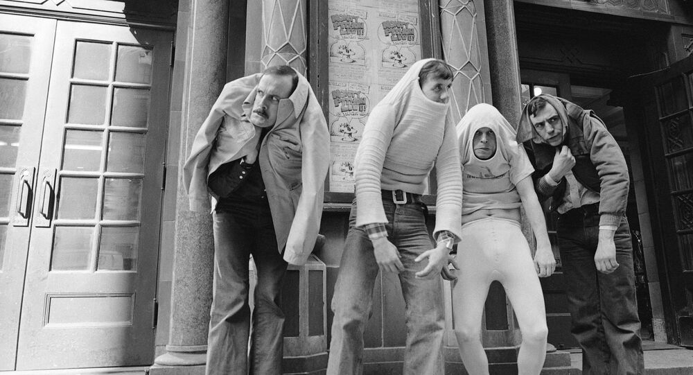 Monty Python's Flying Circus in 1976. Left to right: John Cleese, Michael Palin, Terry Gilliam and Terry Jones.