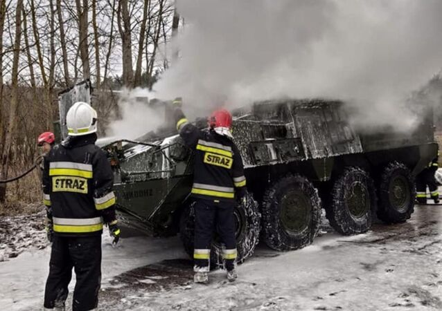US Army Stryker infantry carrier caught fire in Poland