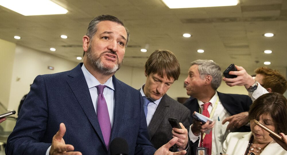 Sen. Ted Cruz, R-Texas, speaks to reporters on Capitol Hill in Washington, Tuesday, Jan. 21, 2020.
