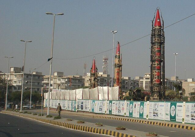 IRBM of Pakistan at IDEAS. Ghaznavi is the missile on the left