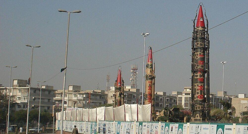 IRBM of Pakistan at IDEAS. Ghaznavi is the missile on the left
