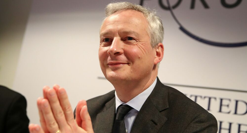 France's Economy Minister Bruno Le Maire addresses a news conference during the 50th World Economic Forum (WEF) in Davos, Switzerland, January 22, 2020