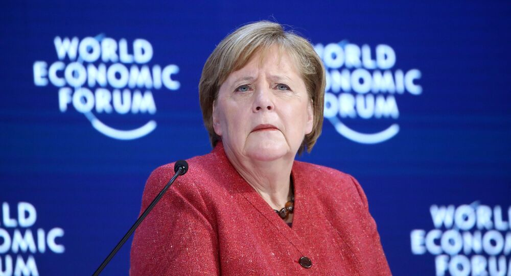 German Chancellor Angela Merkel arrives to deliver a special address at the 50th World Economic Forum (WEF) annual meeting in Davos, Switzerland, January 23, 2020