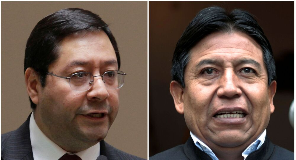 Bolivia's then Minister of Economy and Finance Luis Arce Catacora  and then Foreign Minister David Choquehuanca
