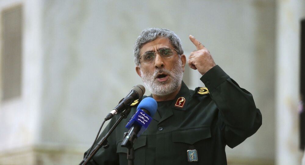 In this May 24, 2017 photo, Gen. Esmail Ghaani speaks in a meeting at the shrine of the late revolutionary founder Ayatollah Khomeini just outside Tehran, Iran.