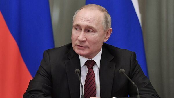 Russia President Vladimir Putin hold a meeting with members of the new national government at the Government's headquarter, in Moscow, Russia - Sputnik International