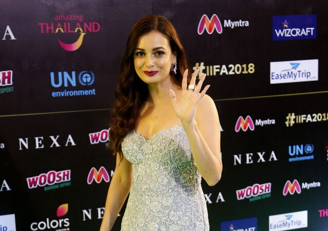 Bollywood actress Dia Mirza poses on the green carpet at 19th edition of International Indian Film Academy (IIFA) awards in Bangkok, Thailand, Sunday, June 24, 2018