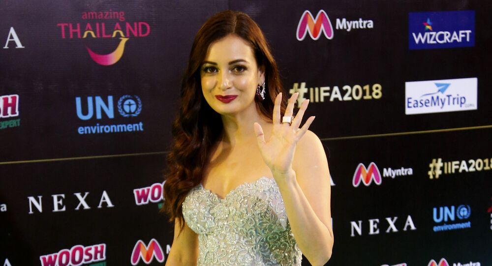 Bollywood actress Dia Mirza poses on the green carpet at 19th edition of International Indian Film Academy (IIFA) awards in Bangkok, Thailand, Sunday, June 24, 2018