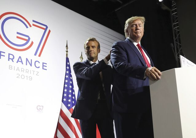 President Donald Trump and French President Emmanuel Macron wrap up a joint press conference at the G-7 summit in Biarritz, France, Monday, Aug. 26, 2019