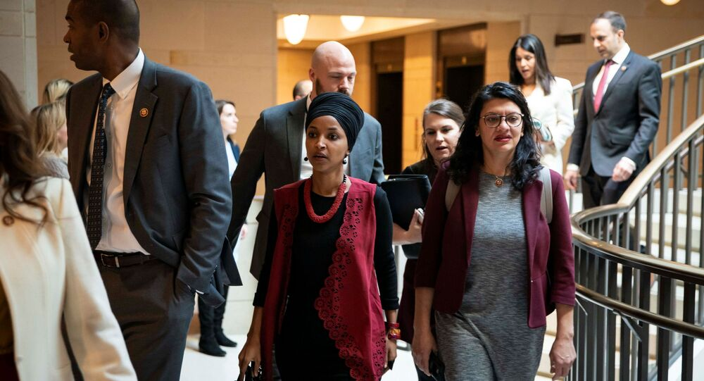 U.S. Representative Ilhan Omar (D-MN) and U.S. Representative Rashida Tlaib (D-MI)  arrive for a briefing on developments with Iran after attacks by Iran on U.S. forces in Iraq, at the U.S. Capitol in Washington, U.S., January 8, 2020