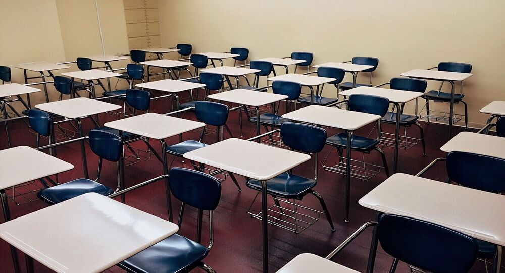 Chairs are seen in a classroom