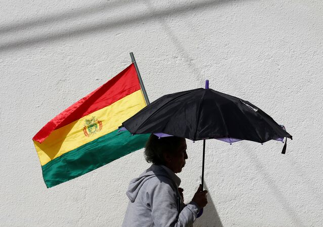 A Woman With a Bolivian Flag