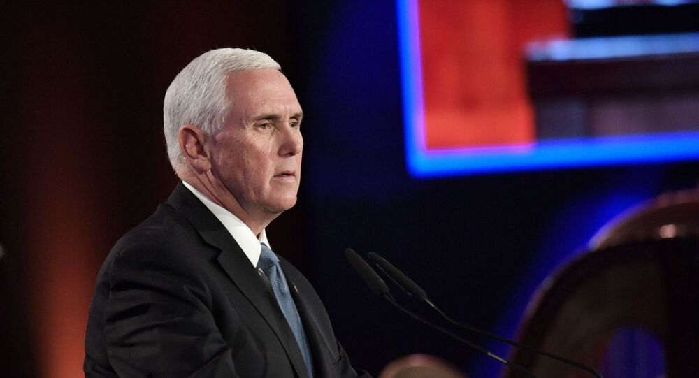 US Vice President Mike Pence speaking at the fifth World Holocaust Forum, 23 January 2020.