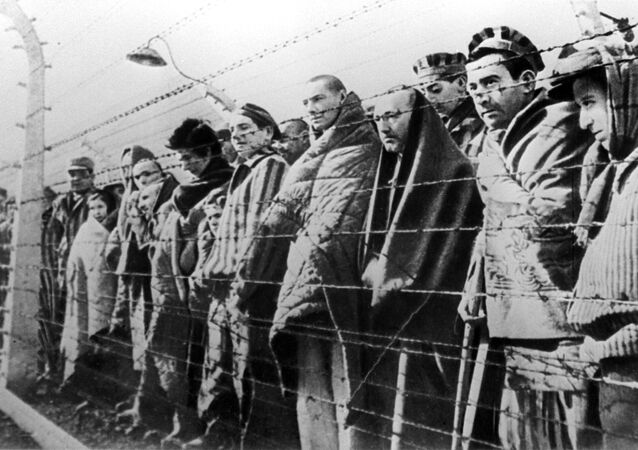 Prisoners of the Auschwitz concentration camp liberated by the Red Army in January 1945.