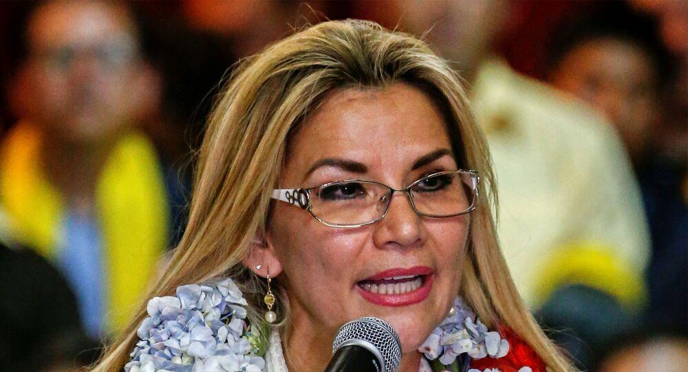 Bolivia's interim President Jeanine Anez in La Paz, Bolivia