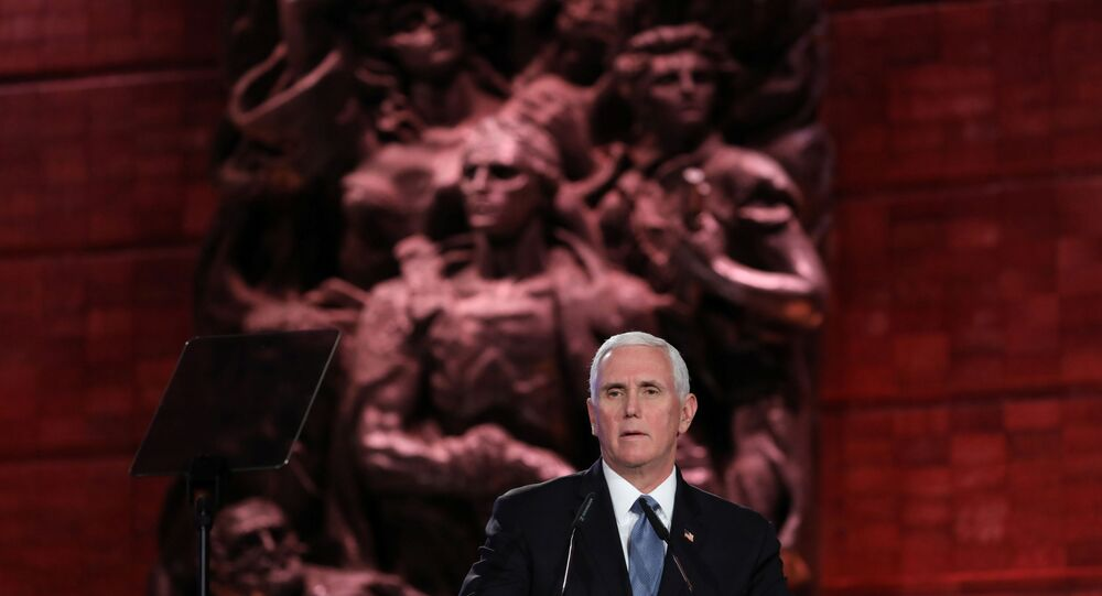US Vice President Mike Pence Speaks During the Fifth World Holocaust Forum