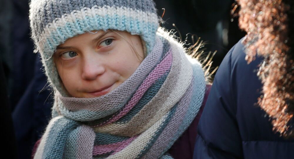 Swedish climate change activist Greta Thunberg takes part in a climate strike protest during the 50th World Economic Forum (WEF) annual meeting in Davos