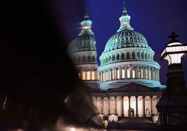 The U.S. Capitol is seen at night