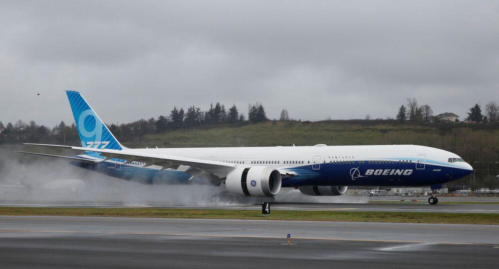 A Boeing 777X airplane in Seattle, Washington