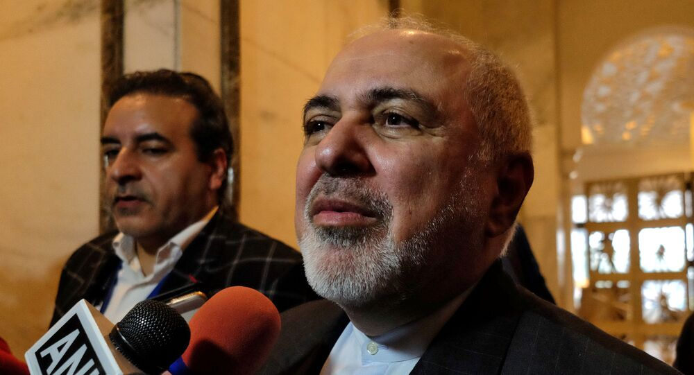 Iran's Foreign Minister Javad Zarif speaks with the media on the sidelines of a security conference in New Delhi, India