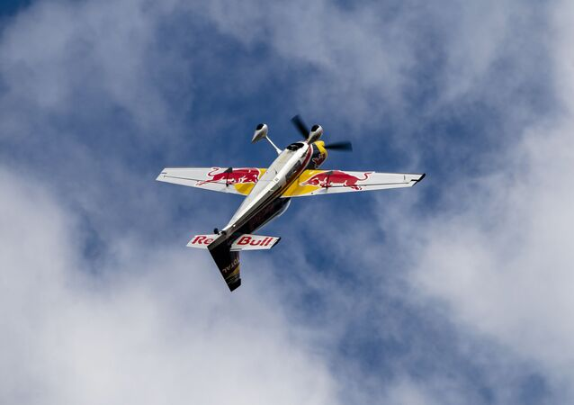 German pilot Matthias Dolderer flips his plane in the air during Red Bull Race Day at Grenchen Airport, Switzerland on August 10, 2019 // Jaanus Ree / Red Bull Content Pool