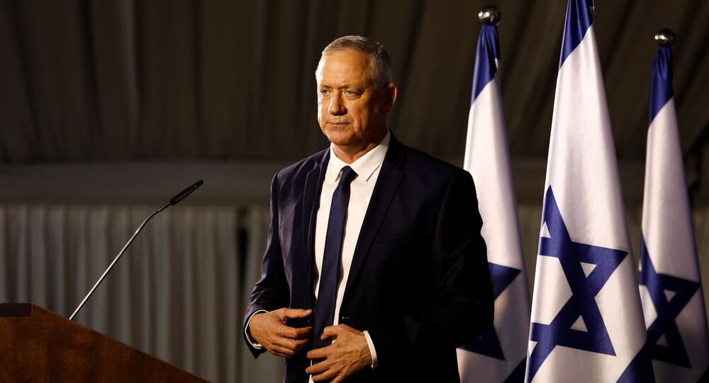 Benny Gantz, leader of Blue and White party is seen after delivering a statement near Tel Aviv, Israel January  25, 2020.