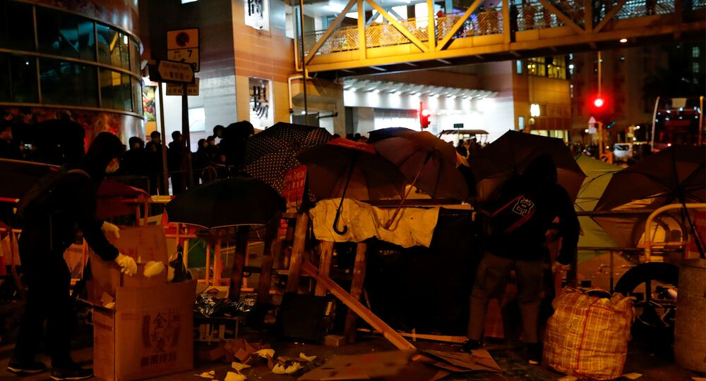 Protesters Set up Barrier in Hong Kong