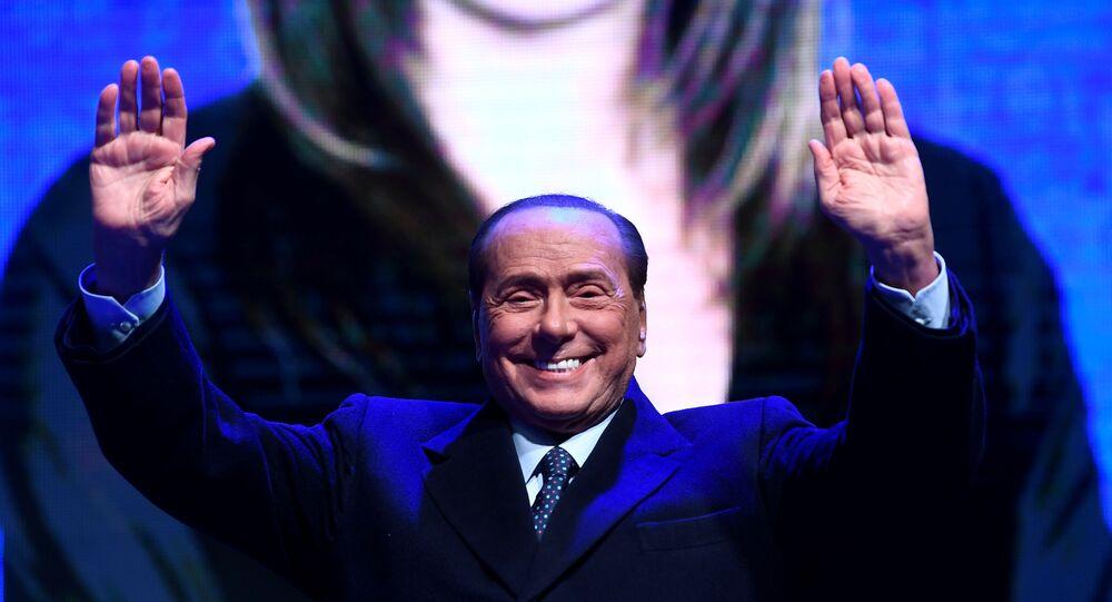 Former Italian Prime Minister and leader of the Forza Italia party Silvio Berlusconi in Ravenna, Italy