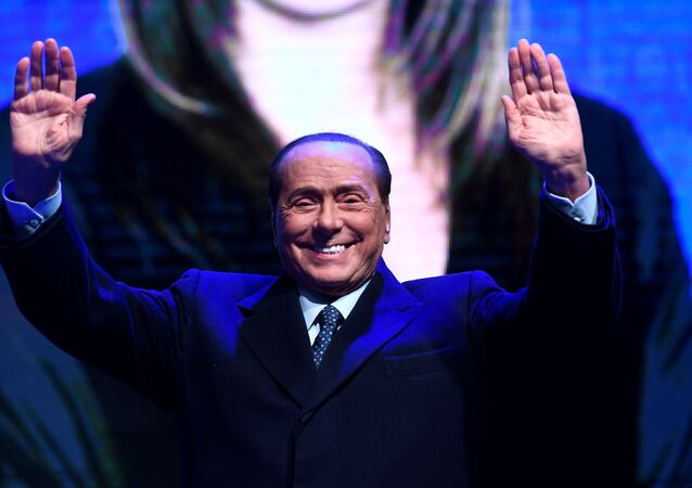 Former Italian Prime Minister and leader of the Forza Italia party Silvio Berlusconi in Ravenna, Italy