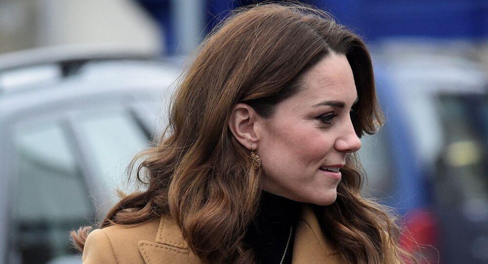 Britain's Catherine, Duchess of Cambridge arrives at Ely & Caerau Children's Centre in Cardiff