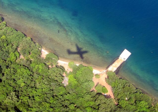 Plane's Shadow Over Water
